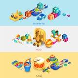 Speelgoed Isometrische Banners Royalty-vrije Stock Foto's