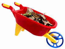 Speelgoed: Plastic Wheelbarrel en Droge Bladeren (2 van 2) Stock Foto's