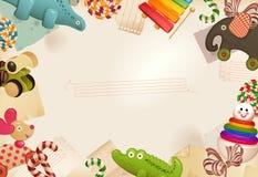 Speelgoed, suikergoed & kinderjarengeheugen Stock Foto