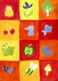 Speelgoed in vierkanten Stock Foto