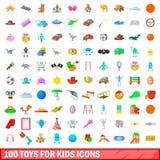 100 speelgoed voor geplaatste jonge geitjespictogrammen, beeldverhaalstijl Stock Foto's
