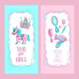 Speelgoed voor kleine prinsessen Reeks van vector cliparts vector illustratie