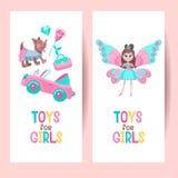 Speelgoed voor meisjes Reeks van vector cliparts stock illustratie