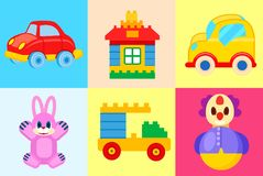 Speelgoedinzameling op Kleurrijke Achtergronden wordt geïsoleerd die royalty-vrije illustratie