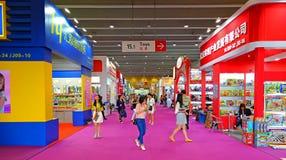 Speelgoedpavillions bij kantonmarkt 2014, China stock foto