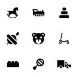 Speelgoedpictogrammen 9 geplaatste pictogrammen Stock Foto's