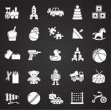 Speelgoedpictogrammen op zwarte achtergrond voor grafisch en Webontwerp dat worden geplaatst Eenvoudig vectorteken Internet-conce vector illustratie