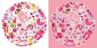 Speelgoedpictogrammen voor Europees babymeisje De reeks van de cirkelsamenstelling Stock Foto