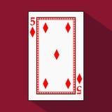 Speelkaart het pictogrambeeld is gemakkelijk DIAMONT VIER 5 met wit een basissubstraat Illustratie op rode achtergrond applic Stock Afbeeldingen
