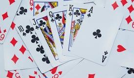 De achtergrond van speelkaarten Stock Foto