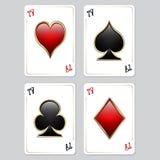 Speelkaarten, azen Royalty-vrije Stock Foto