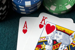 Speelkaarten, de Koning van de Aas Stock Foto's