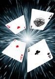 Speelkaarten - de Vliegende Achtergrond van Azen Royalty-vrije Stock Foto's