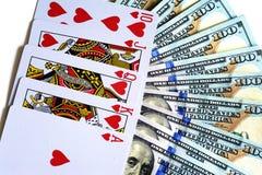 Speelkaarten en dollars Royalty-vrije Stock Afbeeldingen