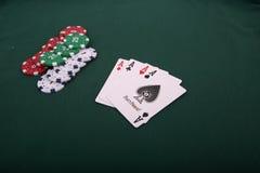 Speelkaarten en het gokken spaanders Royalty-vrije Stock Foto's