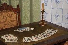 Speelkaarten en kaars Royalty-vrije Stock Afbeeldingen