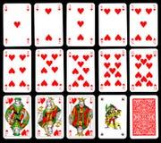 Speelkaarten - Harten Stock Foto's