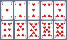 Speelkaarten - Harten Stock Afbeelding