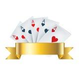 Speelkaarten met gouden lint Stock Afbeelding