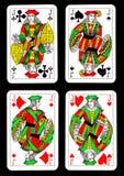 Speelkaarten op zwarte achtergrond Royalty-vrije Stock Afbeelding