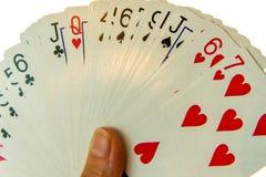 Speelkaarten - uit gewaaid dek royalty-vrije stock afbeeldingen