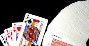 Speelkaartenhefbomen royalty-vrije stock afbeelding