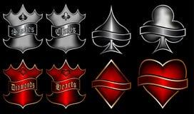 Speelkaartensymbolen met emblemen stock illustratie