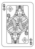 Speelkaartkoningin van Zwart-witte Clubs royalty-vrije illustratie