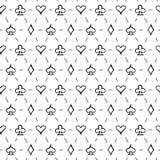 Speelkaartkostuums, naadloze patroonachtergrond Royalty-vrije Stock Fotografie