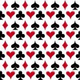 Speelkaartkostuums, naadloze patroonachtergrond Stock Afbeelding