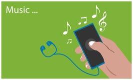 Speelmuziek met hand - gehouden smartphone op de groene achtergrond Vlakke vectorillustratie vector illustratie