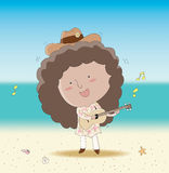 Speelmuziek op het zonnige strand royalty-vrije illustratie