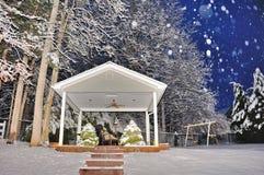 Speelplaats in de sneeuw Stock Fotografie