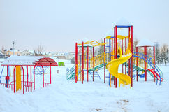 Speelplaats in de sneeuw Stock Afbeelding
