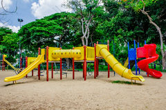 Speelplaats, in lumpinepark royalty-vrije stock fotografie