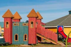 Speelplaats met een kasteel Royalty-vrije Stock Afbeelding