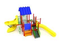 Speelplaats rode gele geeft 3d op witte achtergrond terug Stock Foto