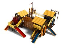 Speelplaats van het spel geeft de houten strand voor kinderenmening van 3d op witte achtergrond met schaduw terug vector illustratie