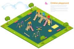 Speelplaats 2 van kinderen Vlakke 3d isometrische vector Stock Afbeeldingen