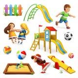 Speelplaats, vectorpictogramreeks Stock Afbeeldingen
