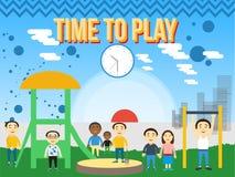 Speelplaats vlak concept Sandpit en dia, vectorillustratie Stock Fotografie