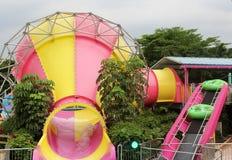Speelplaatsmateriaal in het waterpark Stock Foto's