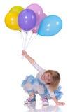 Speels meisje met baloons Royalty-vrije Stock Afbeelding
