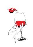 Speels rood lippen en glas van de hand van de wijnholding vector illustratie