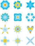 Speelse blauwe ornamenteninzameling Stock Afbeelding