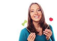 Speelse jonge vrouw klaar voor partij Stock Foto's
