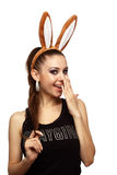 Speelse schoonheid met konijntjesoren Royalty-vrije Stock Afbeeldingen