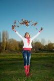 De Vrouw van de herfst stock afbeeldingen