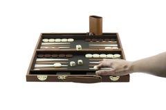 Speelspelenreeks - het Wapen van de Vrouw het Spelen Backgammon stock afbeelding
