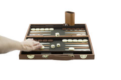 Speelspelenreeks - het Wapen van de Vrouw het Spelen Backgammon royalty-vrije stock afbeeldingen